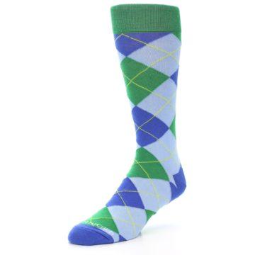 Image of Blue Light-Blue Green Argyle Men's Dress Socks (side-2-front-08)