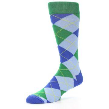 Image of Blue Light-Blue Green Argyle Men's Dress Socks (side-2-09)