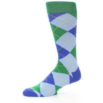Image of Blue Light-Blue Green Argyle Men's Dress Socks (side-2-10)
