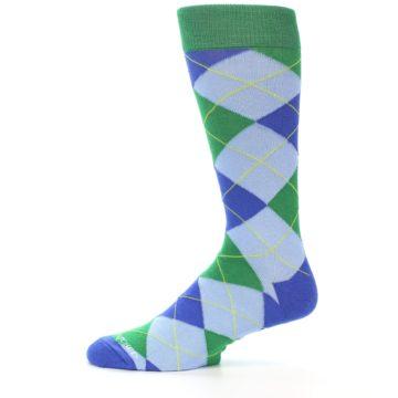 Image of Blue Light-Blue Green Argyle Men's Dress Socks (side-2-11)