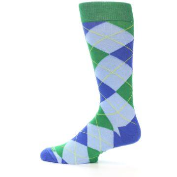 Image of Blue Light-Blue Green Argyle Men's Dress Socks (side-2-12)