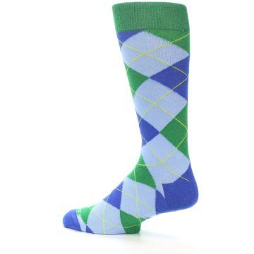 Image of Blue Light-Blue Green Argyle Men's Dress Socks (side-2-13)