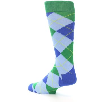 Image of Blue Light-Blue Green Argyle Men's Dress Socks (side-2-back-14)