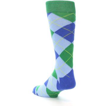Image of Blue Light-Blue Green Argyle Men's Dress Socks (side-2-back-15)