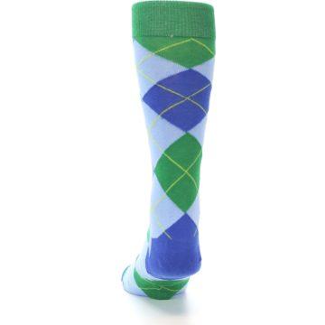 Image of Blue Light-Blue Green Argyle Men's Dress Socks (back-17)