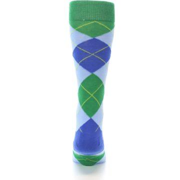 Image of Blue Light-Blue Green Argyle Men's Dress Socks (back-18)