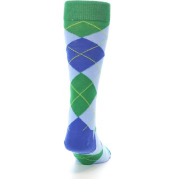 Image of Blue Light-Blue Green Argyle Men's Dress Socks (back-19)