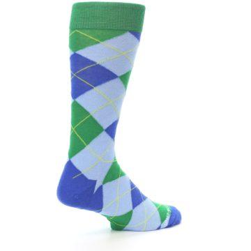 Image of Blue Light-Blue Green Argyle Men's Dress Socks (side-1-back-22)