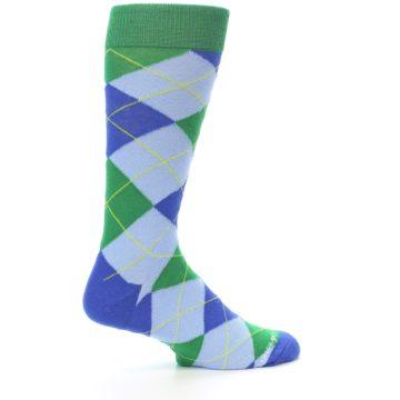 Image of Blue Light-Blue Green Argyle Men's Dress Socks (side-1-23)