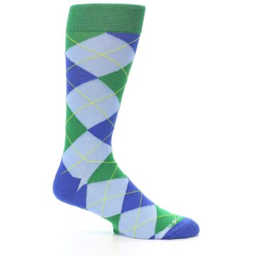 Image of Blue Light-Blue Green Argyle Men's Dress Socks (side-1-25)