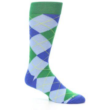 Image of Blue Light-Blue Green Argyle Men's Dress Socks (side-1-26)