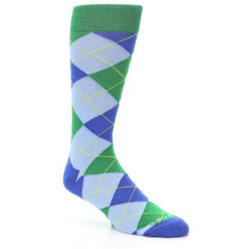 Image of Blue Light-Blue Green Argyle Men's Dress Socks (side-1-27)