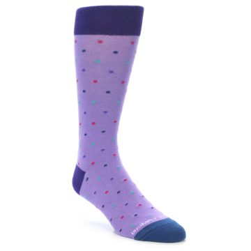 Image of Lavender Purple Polka Dot Men's Dress Socks (side-1-front-01)