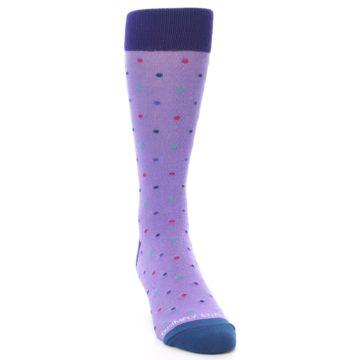 Image of Lavender Purple Polka Dot Men's Dress Socks (side-1-front-03)