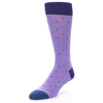 Image of Lavender Purple Polka Dot Men's Dress Socks (side-2-front-08)