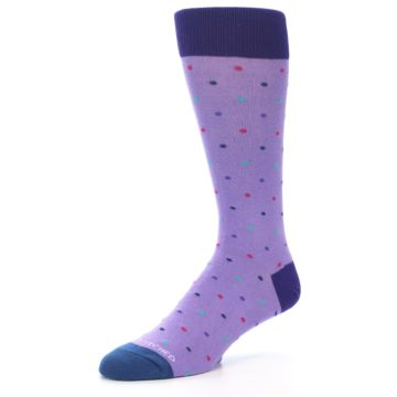 Image of Lavender Purple Polka Dot Men's Dress Socks (side-2-09)