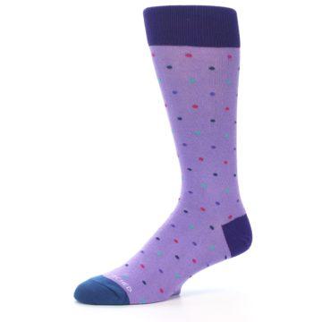 Image of Lavender Purple Polka Dot Men's Dress Socks (side-2-10)