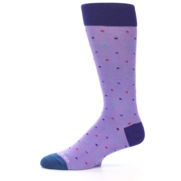 Image of Lavender Purple Polka Dot Men's Dress Socks (side-2-11)