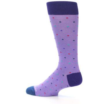 Image of Lavender Purple Polka Dot Men's Dress Socks (side-2-13)