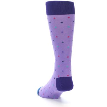 Image of Lavender Purple Polka Dot Men's Dress Socks (side-2-back-16)