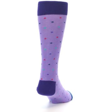 Image of Lavender Purple Polka Dot Men's Dress Socks (side-1-back-20)