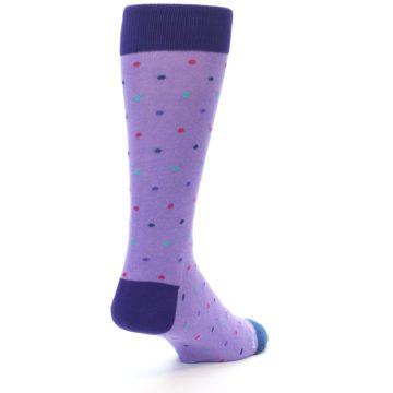 Image of Lavender Purple Polka Dot Men's Dress Socks (side-1-back-21)