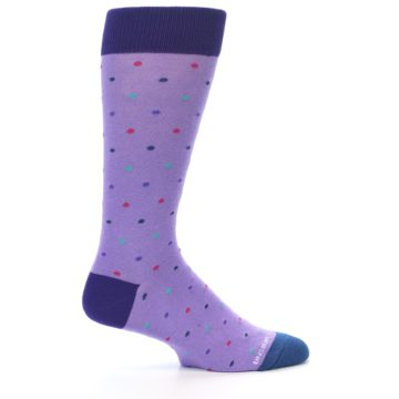 Image of Lavender Purple Polka Dot Men's Dress Socks (side-1-24)