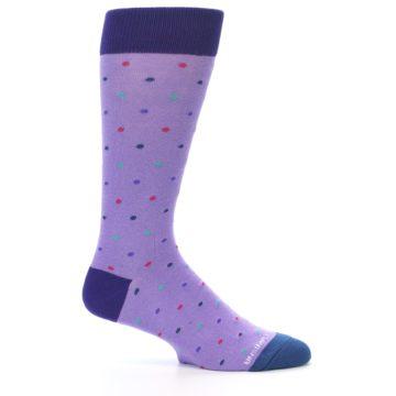 Image of Lavender Purple Polka Dot Men's Dress Socks (side-1-25)