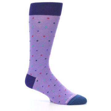 Image of Lavender Purple Polka Dot Men's Dress Socks (side-1-26)