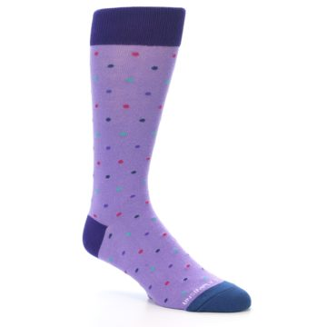 Image of Lavender Purple Polka Dot Men's Dress Socks (side-1-27)
