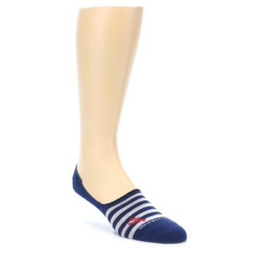 Image of Navy Grey Lobster Stripe Men's No-Show Socks (side-1-front-01)