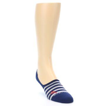 Image of Navy Grey Lobster Stripe Men's No-Show Socks (side-1-front-02)