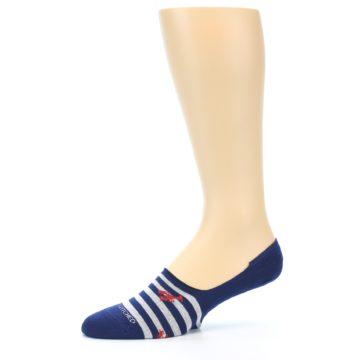Image of Navy Grey Lobster Stripe Men's No-Show Socks (side-2-10)