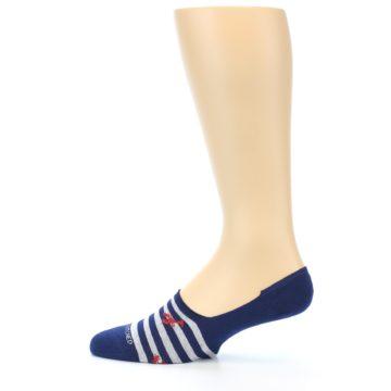 Image of Navy Grey Lobster Stripe Men's No-Show Socks (side-2-12)