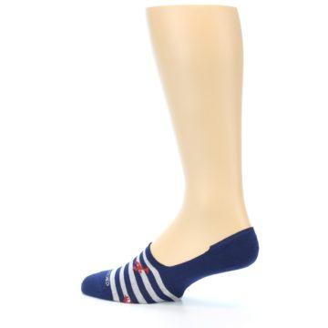 Image of Navy Grey Lobster Stripe Men's No-Show Socks (side-2-13)