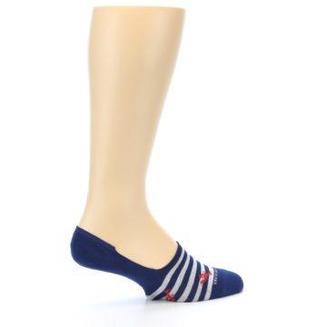 Image of Navy Grey Lobster Stripe Men's No-Show Socks (side-1-23)