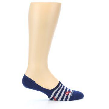 Image of Navy Grey Lobster Stripe Men's No-Show Socks (side-1-24)