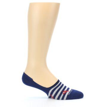 Image of Navy Grey Lobster Stripe Men's No-Show Socks (side-1-25)