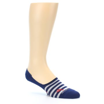 Image of Navy Grey Lobster Stripe Men's No-Show Socks (side-1-26)