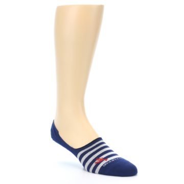Image of Navy Grey Lobster Stripe Men's No-Show Socks (side-1-27)