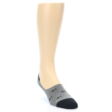 Image of Grey Black Sharks Men's No-Show Socks (side-1-front-02)
