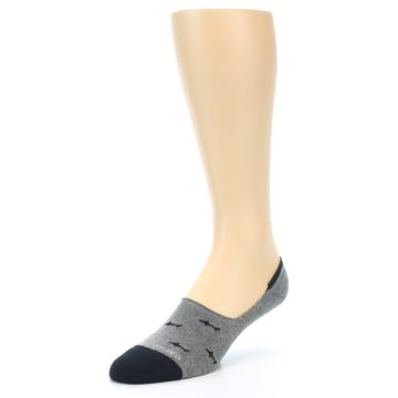 Image of Grey Black Sharks Men's No-Show Socks (side-2-front-08)