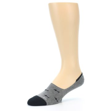 Image of Grey Black Sharks Men's No-Show Socks (side-2-09)