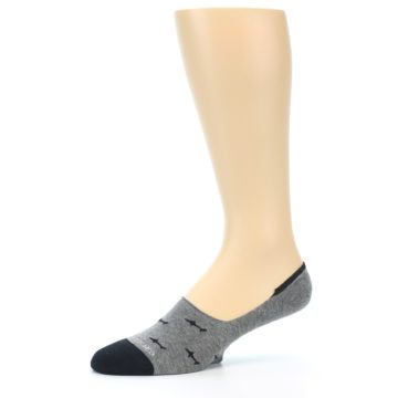 Image of Grey Black Sharks Men's No-Show Socks (side-2-10)