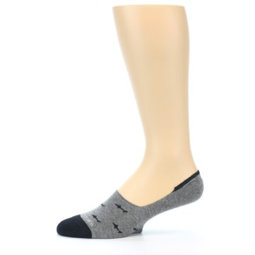 Image of Grey Black Sharks Men's No-Show Socks (side-2-11)