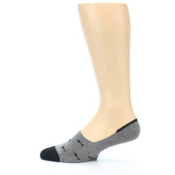Image of Grey Black Sharks Men's No-Show Socks (side-2-12)
