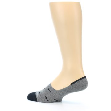 Image of Grey Black Sharks Men's No-Show Socks (side-2-13)