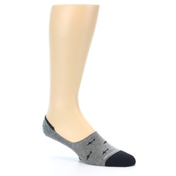 Image of Grey Black Sharks Men's No-Show Socks (side-1-26)