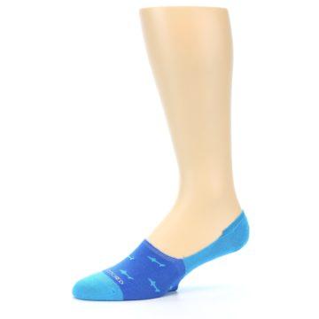 Image of Blue Sharks Men's No-Show Socks (side-2-10)
