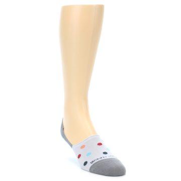 Image of Grey Polka Dot Men's No-Show Socks (side-1-front-02)